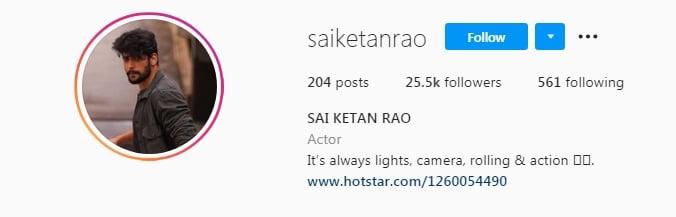 Sai Ketan Rao Instagram